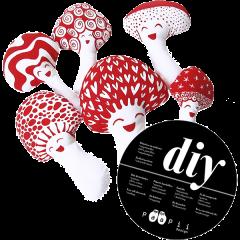 DIY Mushroom family, red - white