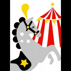 Postikortti Sirkushevonen ja teltta, valkoinen