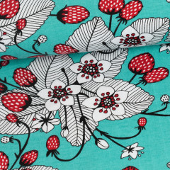 Strawberries organic jersey, turquoise