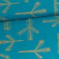 Havu trikoo, petrooli - kulta (glitter)