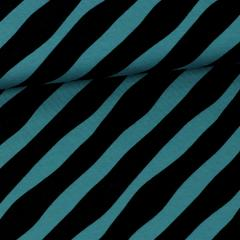 Diagonal organic jersey, petrol - black