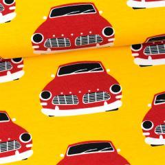 Vintage cars organic jersey, sun - red