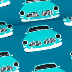 Vintage cars organic jersey, petrol - turquoise