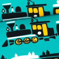 Train organic jersey, turquoise