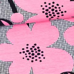 Niittyleinikki trikoo, vaaleanpunainen - musta