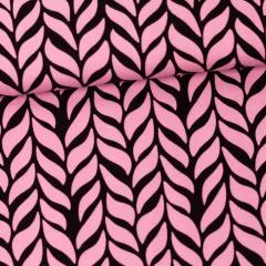 Plait organic jersey, light pink - black
