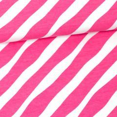 Diagonal organic jersey, pink - white