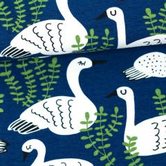 Swan organic jersey, blueberry - forest