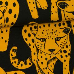 Cheetah organic jersey, ochre - black