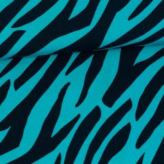 Zebra organic jersey, turquoise - black