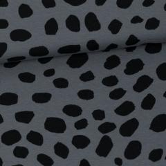 Cheetah Dots organic sweatshirt knit, dark grey - black