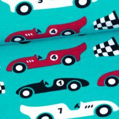 Kilpa-autot joustocollege, turkoosi - punainen