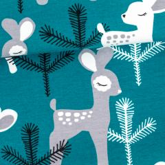 Bambi organic jersey, petrol - grey