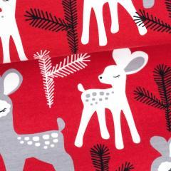 Bambi organic jersey, red - grey