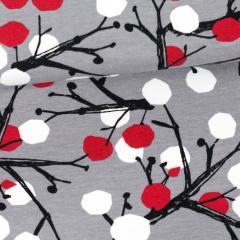 Berry Tree organic jersey, grey - red