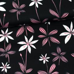 Starflower organic cotton sateen, black - light pink